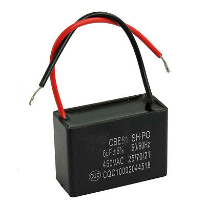 CBB61 SH 6uF 450VAC Motor Running Fan Capacitor Black w 2 Lead Wires