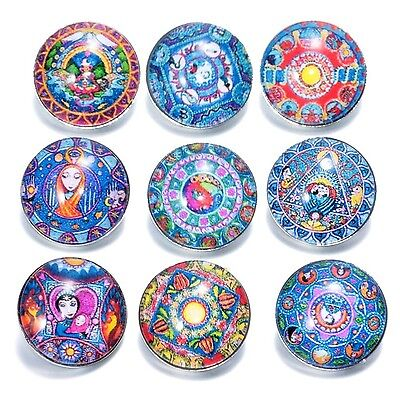 Soleebee Aluminium Glass Printing Snap Buttons Jewellery Charms Pack of 12pcs 18