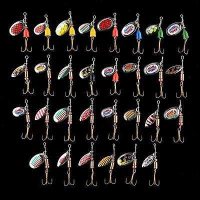 30x Assorted Spinnerbaits Fishing Lures 12x Butterfly Hook Tackle Tool