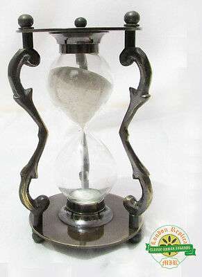 ANTIQUE BRASS NAUTICAL VINTAGE MARITIME HOURGLASS SAND TIMER 5Min COLLECTIBLE