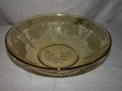 "Federal Amber Glass Sharon ""cabbage Rose"" 8.5 Inch Fruit Or Vegetable Bowl"