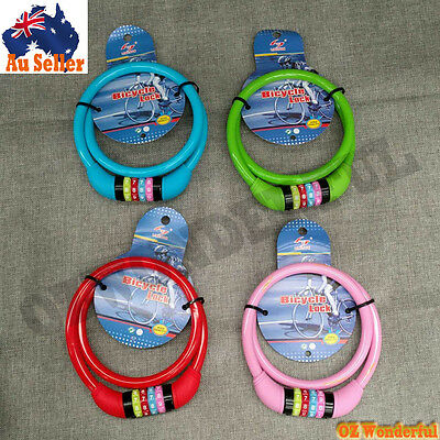 New Bike Bicycle Code Combination Lock Colorful 4-Digital Steel Cable Security