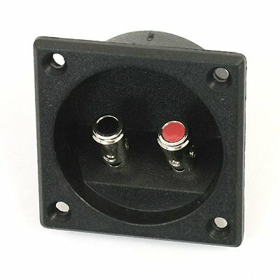 Square Shape Double Binding Post Type Speaker Box Terminal Cup Black LW