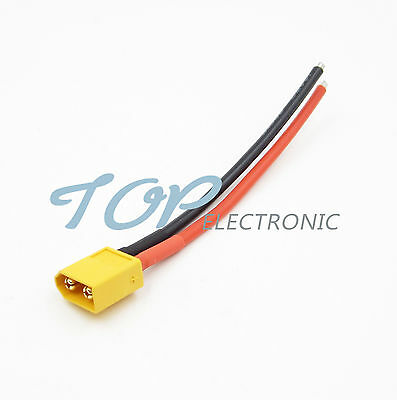 2PCS XT60 Connector Male W/Housing 10CM Silicon Wire 14AWG