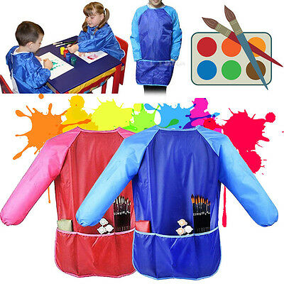 New Practical Kids Drawing Long Sleeve Waterproof Painting Apron For Art Class