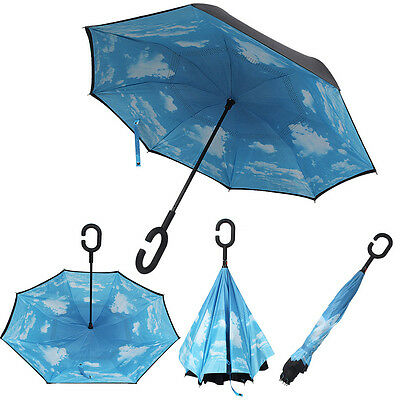 NEW Blue Sky Hands Free Folding Umbrella C-Handle Double Layer Inverted Reverse