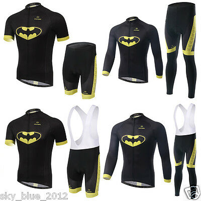 2016 Men's Pro Team Bike Cycling Sport Wear Batman Jersey Bib Short Trouser Sets