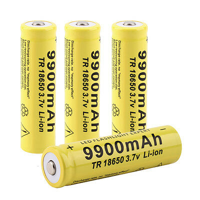 1/2/4x 3.7V 18650 9900mah Li-ion Rechargeable Battery For LED Flashlight Torch #