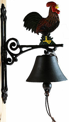 Rooster  / Chicken Black Iron Wall Hanging Door Bell - Ring / Dong Chime