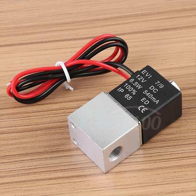 """12V DC 1/8"""" 2 Way Pneumatic Aluminum Electric Solenoid Air Valve for Gas Water"""