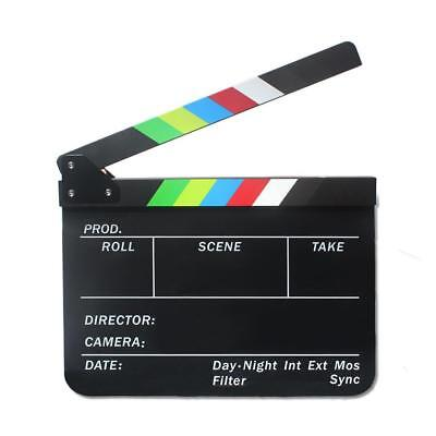 Wooden Clapper Clapperboard Board TV Film Movie Action Scene Slate Colorful