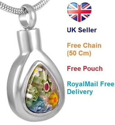 Cremation Jewellery for Ashes Rainbow Drop Pendant Necklace Funeral memorial Urn