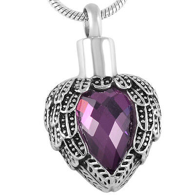 Cremation Jewellery for Ashes Funeral Ash Pendant Purple Angel Heart Necklace