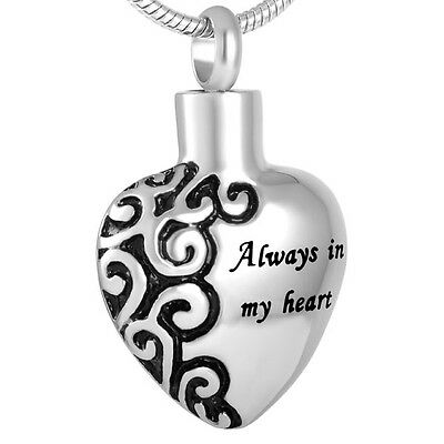Cremation Jewellery for Ashes Funeral Ash Pendant Silver Heart Necklace Keepsake