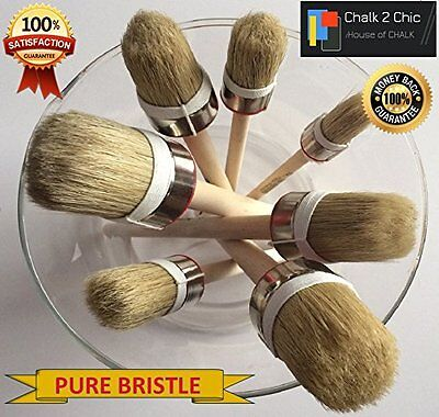 HQ7 - 7 x CHALK PAINT AND WAX top quality natural bristle ROUND BRUSHES 7 sizes