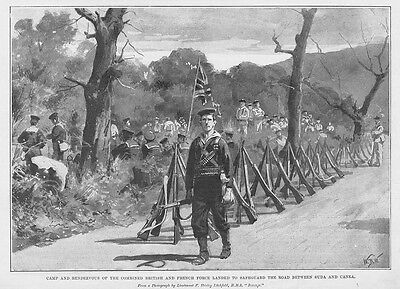 CRETE British & French Forces on Road between Canea & Suda - Antique Print 1897