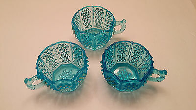 Bryce Peacock Blue Punch Cups circa 1891 Set - Antique