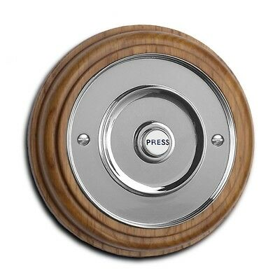 "Honey Oak Plinth, varnished, with 100mm dia. (4"") chrome push Model: HON100Cr • CAD $80.96"
