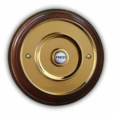 """Mahogany Plinth, Varnished and Weatherproof, with 100mm dia (4"""") Brass Bell Push"""