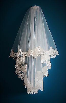 Bridal Veil *2 Tier Elbow Length*Wide Corded Lace* Ivory/Off White*Bespoke*