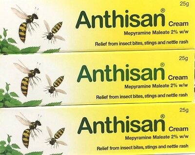 3x Anthisan Bites & Stings Children and Adult Cream 25g Multibuy Nettle Rash