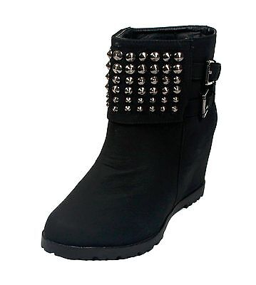 WHOLESALE Lot 12 prs Wedge Ankle Boots studs buckles slip on BLACK US ship