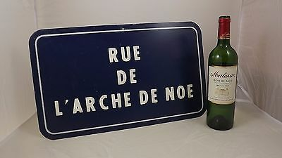 Blue French Street aluminium Sign vintage Romantic Pop Art Deco Mid Century
