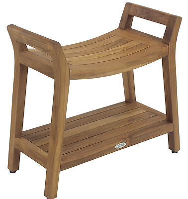 Asia Ascend Teak Shower Bench with Shelf