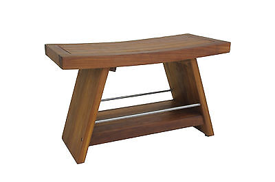"""The Original 30"""" Asia Teak & Stainless Shower Bench with Shelf"""