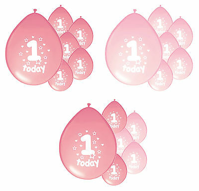 10 x 1ST BIRTHDAY GIRL/ AGE 1 GIRL PINK AND BABY PINK BIRTHDAY BALLOONS (PA)