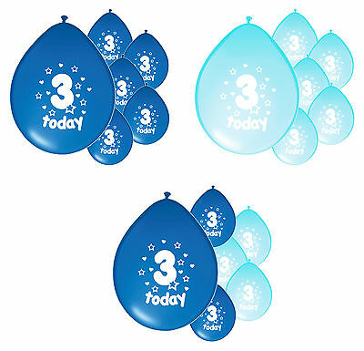 10 x 3RD BIRTHDAY BOY/ AGE 3 BOY BLUE AND BABY BLUE BIRTHDAY BALLOONS (PA)