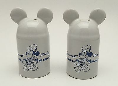 Disney Gourmet Blue White Mickey Mouse Ears Chef Salt & Pepper Shakers