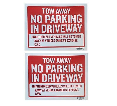 """2pc Tow Away No Parking sign 9""""x12"""" Red flexible plastic - 2 Sing"""