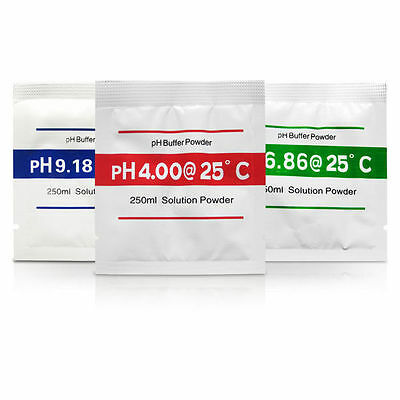pH Meter Buffer Solution Powder Set 3-Pack Calibration PH Water Quality Tester