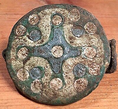 Ancient Roman Brooch Enameled Cross Shield. Museum Quality Exact 'reproduction'