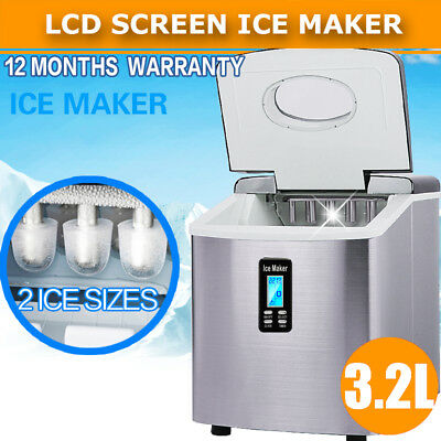Ice Cube Maker 3.2L LCD Screen Auto Fast Benchtop Portable Freezer Machine Home
