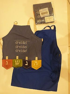 Two Toddler Child Size Chanukah Aprons, 1 Used 1 New + One Blue Used Apron