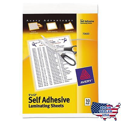 """Avery Self-Adhesive Laminating Sheets, 9"""" x 12"""", Pack of 10 (73603), New, Free S"""