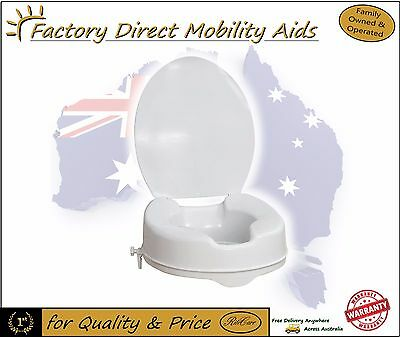"Toilet Seat Raiser 4"" 100mm With Lid easy clip on Great Quality! Value!"