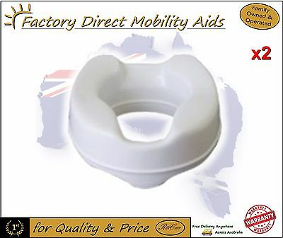 """2 x Toilet Seat Raiser 6"""" 150mm Without Lid easy clip on"""