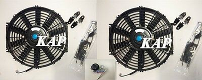 """2pcs Universal 10"""" inch 12V Reversible Electric Cooling Thermo Fan &Mounting Kit"""