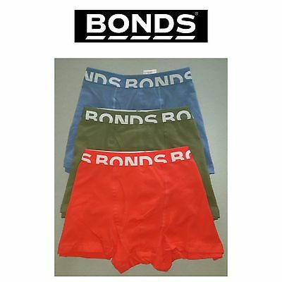 Mens Bonds Everyday Trunks 3 Pack MYBCG Rubber Nylon Fit Red Blue Olive L Large