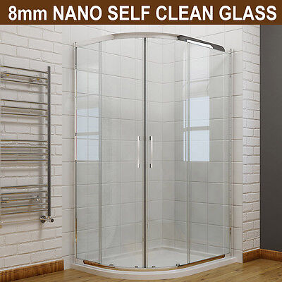 Offset Quadrant Shower Enclosure Cubicle and Tray  8mm Easy Clean Glass Door