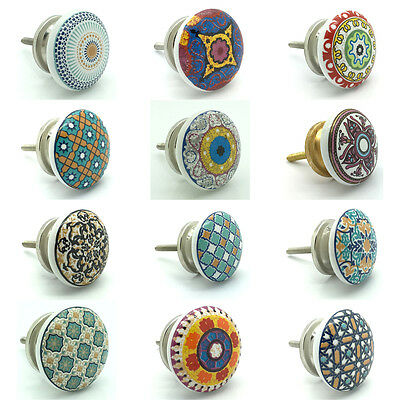 Positive Theme Ceramic Door Knobs Vintage Shabby Chic Cupboard Pull Handles