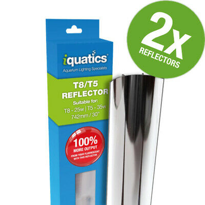2 x iQuatics 35W T5/25W T8 Light Tube Reflector *JUWEL COMPATIBLE*