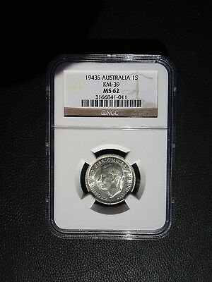1943 S Australia 1 One Shilling, NGC MS 62