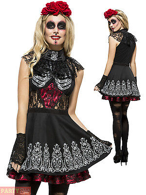 Ladies Day of the Dead Costume Sugar Skull Skeleton Womens Halloween Fancy Dress