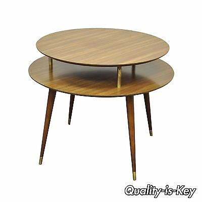 """Vintage 27"""" x 33"""" Mid Century Modern 2 Tier Round Accent Atomic Lamp Side Table"""