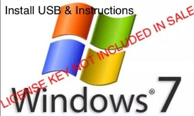 Windows 7 Professional / Home Installer Disk Pack - USB, Manual and Support