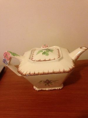 James Kent Old Foley 4-6 cup teapot with raised flower handle and lid England